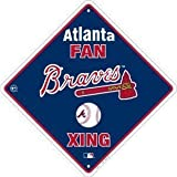 Atlanta Braves Fan Metal Crossing Sign 12 inch by 12 inch Team colors and logo