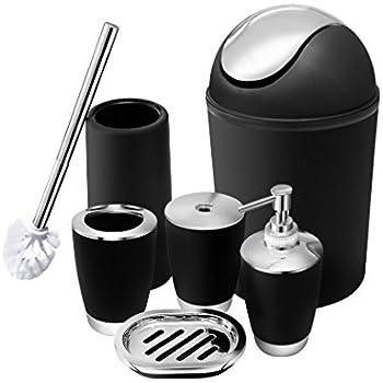 6 piece bathroom accessories set plastic bath ensemble bath set lotion bottles toothbrush holder