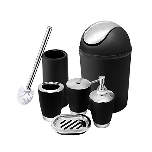 Stylish Bathroom Accessories Set for 6 psc,Plastic Bath Ensemble Bath Set Lotion Bottles, Toothbrush Holder, Tooth Mug, Soap Dish, Toilet Brush, Trash Can (Black)