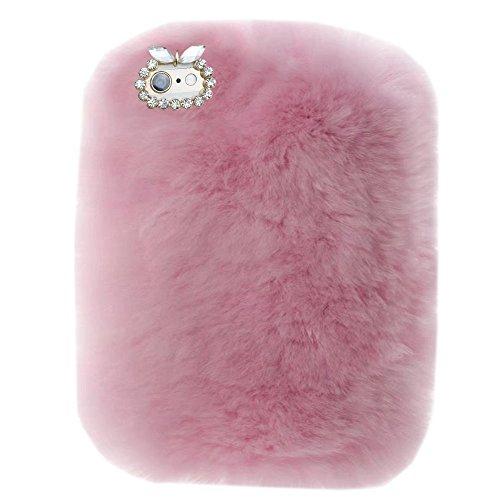 Super Deluxe Luxury Winter Fashion Bling Rhinestone Fuzzy Faux Rabbit Furry Fluffy Beaver Rex Rabbit Fur Protective Case for Apple Ipad 2/ipad 3/ipad 4(Pink) ()