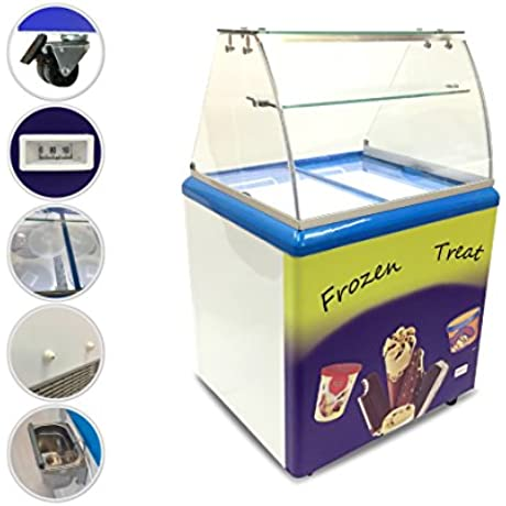 Export Quality Commercial Ice Cream Freezer With 4 Dipping Buckets ETL Certified Interior LED Light Curved Glass Holds 4x3 Gallons Ice Cream Tubs Attractive And Heavy Duty Adjustable Temperature