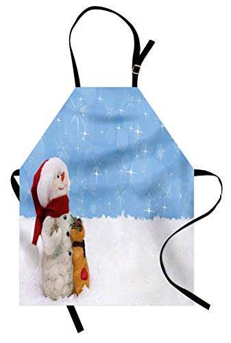 - Ambesonne Snowman Apron, Winter Time Theme Snowman with Christmas Hat Scarf and Present Happy Holiday, Unisex Kitchen Bib Apron with Adjustable Neck for Cooking Baking Gardening, Multicolor