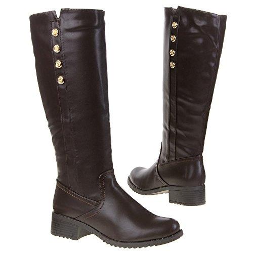Ital-Design - Botas Antideslizantes de material sintético mujer marrón - marrón