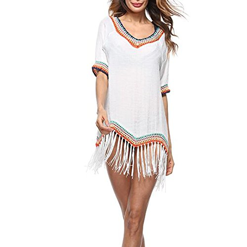 Gracelife Summer Tassel Crochet Bohemian Swimwear Beach Dress Half Sleeve Sunscreen Loose Bikini Smock Dress Blouse (White)