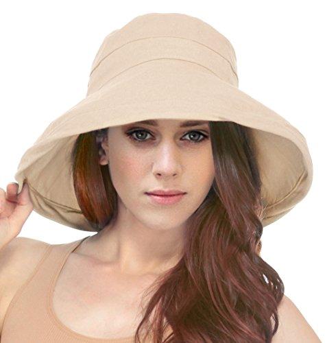 Women's Summer Cotton Bucket Beach Hat w/ Wide Fold-Up (Brim Khaki)