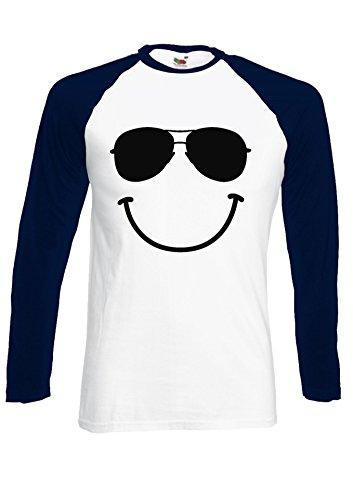 Smiley Face Glasses Smiling Funny Navy/White Men Women Unisex Long Sleeve Baseball T - Smiley With Glasses Face