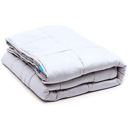 LUNA Weighted Blanket (15 lbs - 60x80) | 100% Organic Cooling Cotton & Hypoallergenic Glass Beads | Heavy Quilt for Calmer Days and Relaxing Nights | Kids or Adult | Designed in USA | Grey