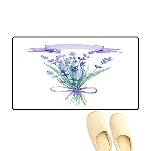 Antiskid Doormat Watercolor Lavender Bouquet