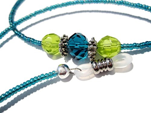 ATLanyards Teal and Lime with a Twist Beaded Eyeglass Holder Chain - Glasses Lanyard (Twist Glass Beads)