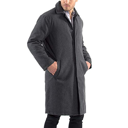 (alpine swiss Zach Mens Wool Trench Coat Knee Length Overcoat Gray XL )