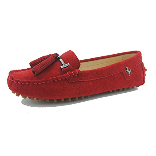 Miyoopark Womens Casual Kwastje Suède Loafers Outdoor Indoor Flats Slippers Donkerrood