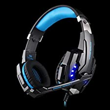 Elepawl G9000 Gaming Headset Headphone Earphone Headband 3.5mm Stereo Jack with Mic LED Light for PS4 / Tablet / Laptop / Cell Phone - Black&Blue