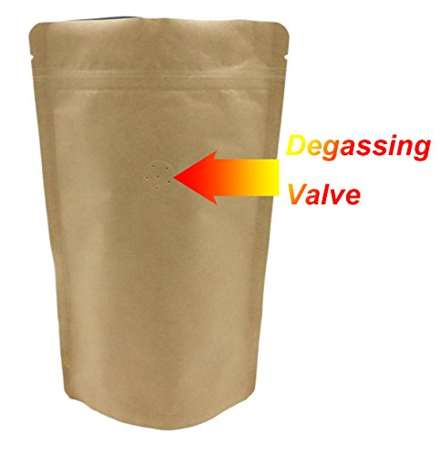 250g 8oz 1/2lb Kraft Paper Stand up Zipper Pouches Coffee Bags Coffee Pouches with Valve (Pack of (Coffee Zipper)