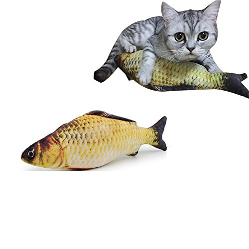 Defitck Catnip Toys Simulation Plush Fish Shape Doll Interactive Pets Pillow Chew Bite Supplies for Cat/Kitty/Kitten