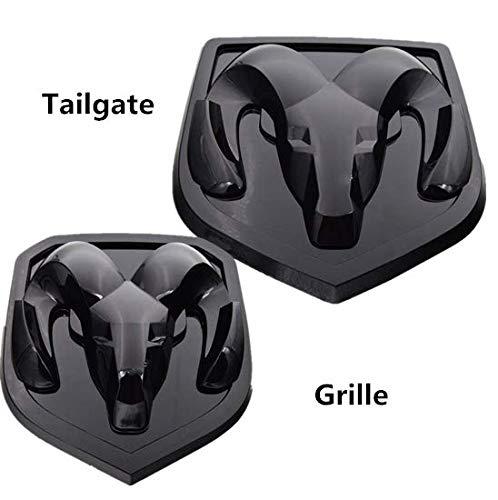 (Grille&Tailgate Rear Car Emblem For Dodge Ram 1500 2500 3500 Gloss BLACK Set 2Pcs)