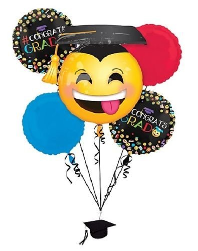 (CakeDrake GRAD Graduation Smiley Face Emoji Hat Party Balloons Bouquet Set Weight & Ribbon )