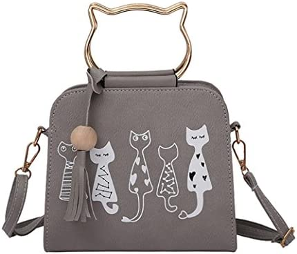 623d45ede02aa Femme fille Impression de chat Sac à bandoulière à pompon Sac de messager  des animaux sacs à main des femmes sac à bandoulière de lapin de motif de  lapin de ...
