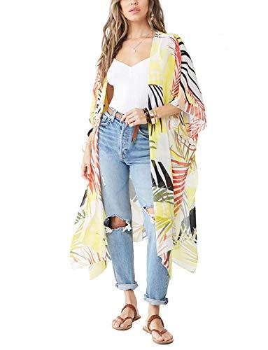 Women's Beach Kimono Jacket Sheer Cardigan Wide Bell Sleeve Sheer Open Floral Shirt Wrap Top (White3, 2XL)