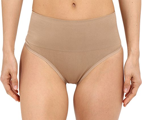 Yummie by Heather Thomson Women's Jasmina Seamlessly Shaped Everyday Shaping Thong, Almond, Small/Medium