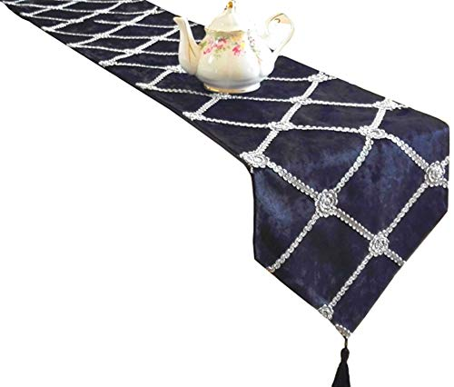 LivebyCare Multi-Size Heavy Gemetric Bling Table Runners with Tassels Rustic Fall Table Runners for Home Decoration 48 Inches for Tea/Coffee Table D¨¦cor/Dresser/Shoebox/Wedding ()