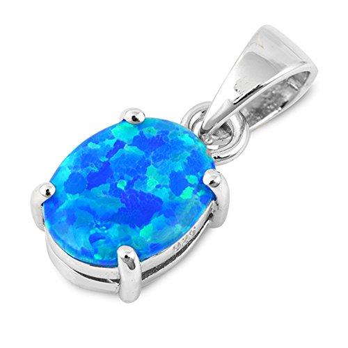 Australian Opal Pendant - Elegant Oval Lab Created Blue Opal .925 Sterling Silver Pendant