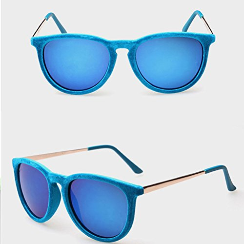 Mode for Mens Blue Personality Film Plush Bright Unisex Sunglasses Colorful Fashion Sunglasses Zhhlaixing dxvRS1d