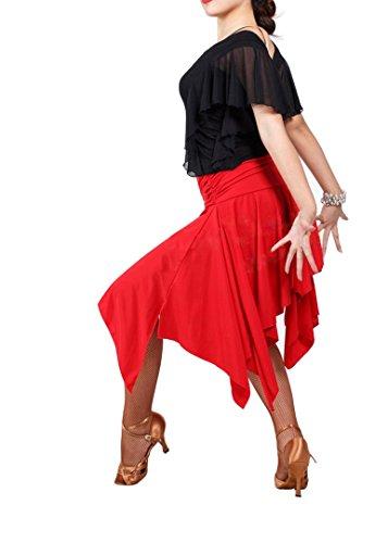 Black Red Ballroom Latin Salsa Rumba Chacha Tango Dance Skirt