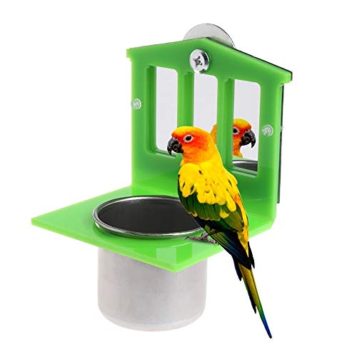 PIVBY Bird Mirror Toys with Stainless Steel Parrot Food & Water Bird Cup Dish Feeder Bowl Parakeet Cockatiel Conure…