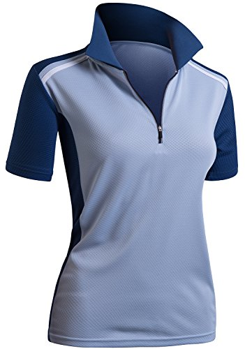 CLOVERY Wicking Material Clothing Functional Fabric Short Sleeve Zipup POLO Shirt Skyblueblue L