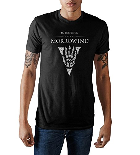 Bioworld The Elder Scrolls III Morrowind Emblem Men's Black Graphic Print T-Shirt Medium (T-shirt Scroll)