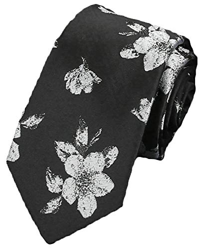 Flairs New York Inspired Collection Neck Tie (Kuro Black/White Floral) - Tie Flowers Black Collection White
