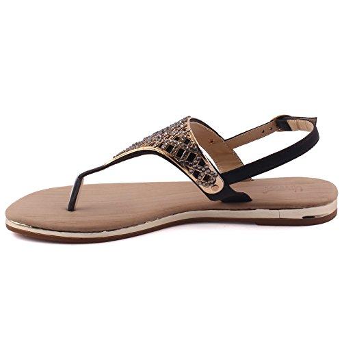 Unze Nuevas mujeres 'Jules' Toe Embellecido Summer Beach Party Reunirse Carnaval Casual Sandalias Planas Zapatos Reino Unido Tamaño 3-8 Negro