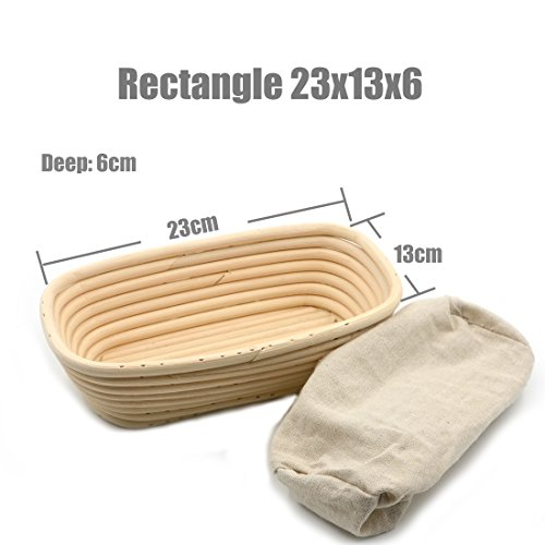 AngelaKerry 1pcs 23x13x6cm (0.9x0.5x0.23 inch) Rectangle Banneton Brotform Long-Strip Bread Proofing Basket Handmade + Cloth Liner by AngelaKerry