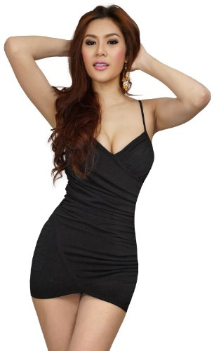 clubwearguru Womens Clubwear Scrunch Mini Dress (Large, Black) (Bodice Cross Sweetheart Criss)
