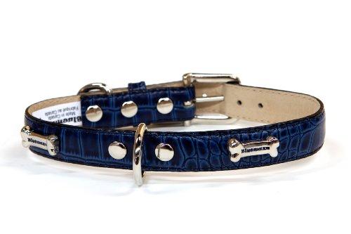 Bluemax Genuine Leather Crocodile Cow Dog Collar with Bone Stud, 1-Inch by 18-Inch, Navy
