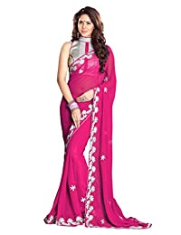 Mirchi Fashion Faux Georgette Zari Work Indian Traditional Wear Saree for Women