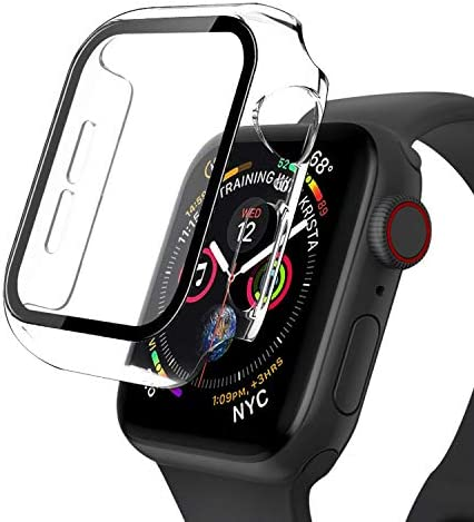 [2 Pack] Compatible Apple Watch Series 6/5/4/SE Case 40mm, 9H Hardness Anti-Scratch Waterproof Screen Protector Matte Guard Easy Install Touch Accessories Charging Cover for Smart Watch- Transparent