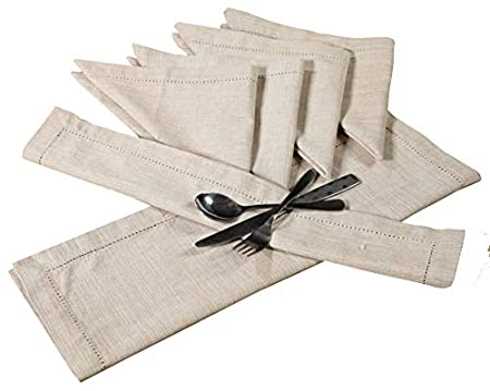 PACK of 12 Hemstitched Oversized White Dinner Napkin 20x20 Inches by Linen Clubs