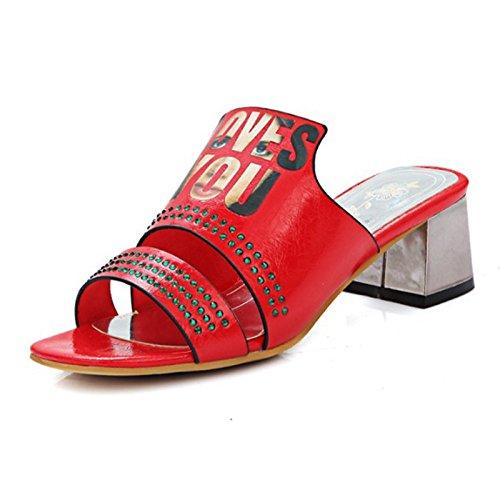 toe pu per Estate festa sandali Grigio di nozze Chunky donna Scarpe la Primavera strass Peep Red Slingback Sera Comfort Bianco Heel ZHZNVX Novità 6xnI74qwwE