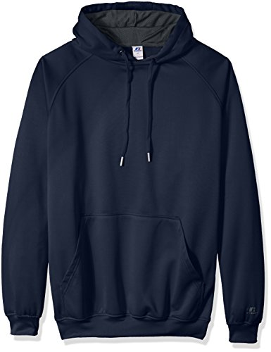 Russell Athletic Men's Big and Tall Po Poly Flece Hd with Contrast Liner Logo on Sleeve, Navy, 4X