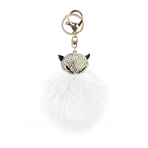 Cute Genuine Rabbit Fur Fuffy Pom Pom Ball Keyring Bling Rhinestone Crystal Fox Key Chains Ring Holder for Car Key Handbag Purse Cell Phone Keychains Charm Jewelry Pendant Bag Accessories Xmas Gift