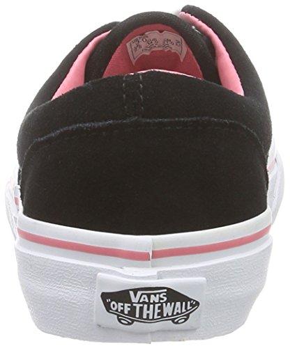 VansK ERA SUEDE - pantufla Niños-Niñas Negro - Schwarz ((Suede) black/strawberry pink)
