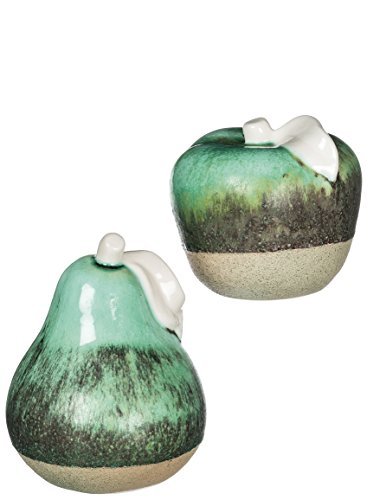 Apple Rustic (Sullivans CM2694 Rustic Stone Apple Pear Ceramic Decoration, Green, 5 x 7 Inches Each, Set of 2)