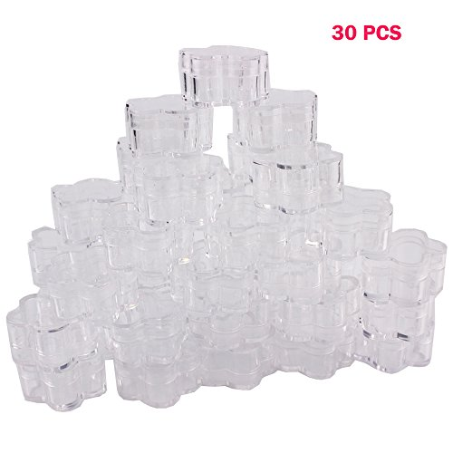 5 Gram Jar - 30 Pcs Transparent Plum-Shaped Cosmetic Sample Refillable Empty Container with Lid for Make Up, Eye Shadow, Nail Charms, Powder, Gems, Jewelry