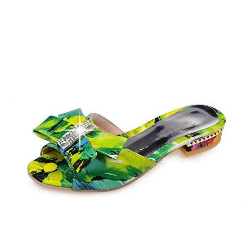 AllhqFashion Mujeres Mini Tacón Colores Surtidos Sandalias de vestir con Lazos Verde