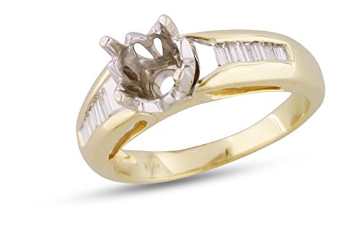 Womens Channel Engagement Ring Semi Mount 14k Yellow Gold .27 ctw 14k Yellow Gold Mount