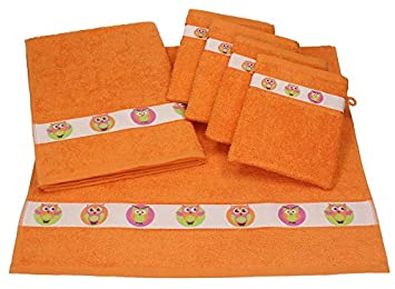 BETZ Juego de 6 Piezas de Toallas para bebés 2 Toallas y 4 Manoplas de baño LECHUZAS de Color Naranja: Amazon.es: Hogar