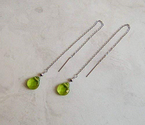 Simulated Peridot August Birthstone Pear Stainless Steel Threader Earrings Her Special Day Gift Idea
