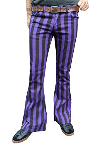 Hommes Pattes D'éléphant Fusées Violet Noir Rayé Pantalon Retro