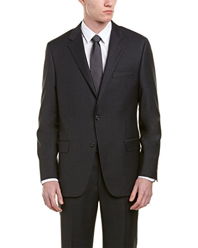 Hickey Freeman Mens Milburn Ii 2Pc Wool Suit with Flat Pant, 44L, - Hickey Mens Freeman Suits